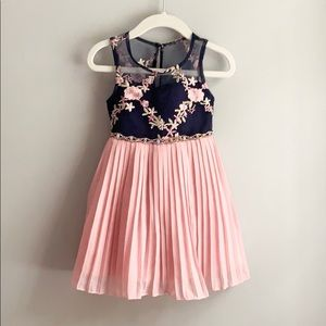 Toddler Girls Rare Editions Navy Pink Floral Dress
